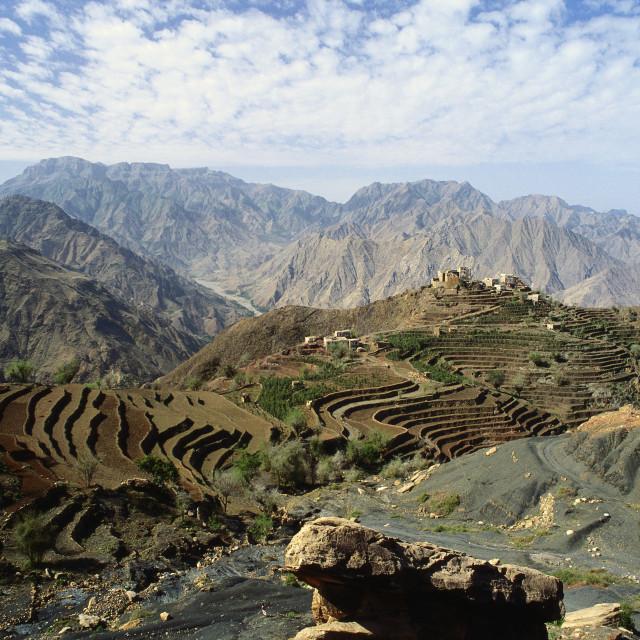 """""""Remote Mountain Village, Yemen"""" stock image"""