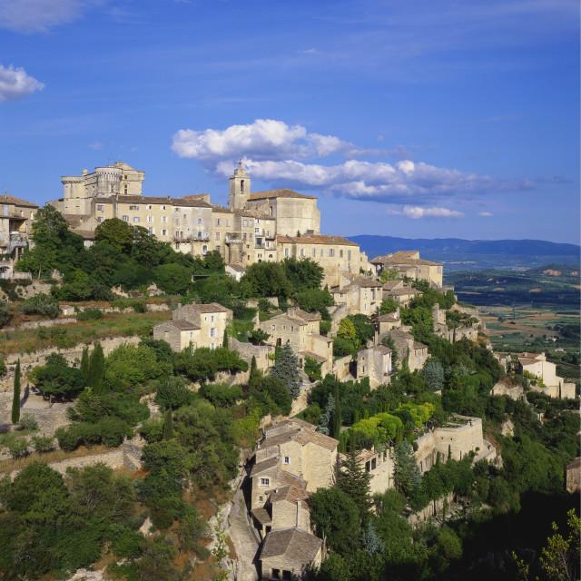 """Hillside Town, Gordes, Provence, France"" stock image"