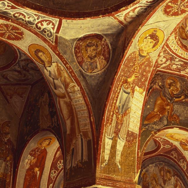 """Detail from a Fresco in Elmali Church, Goreme, Cappadocia, Turkey"" stock image"