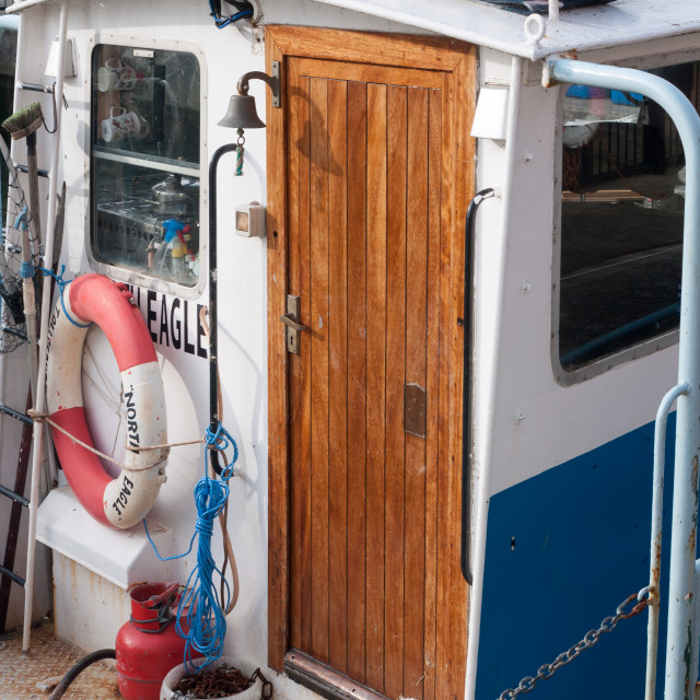 """""""back of fishing boat wooden door close up"""" stock image"""