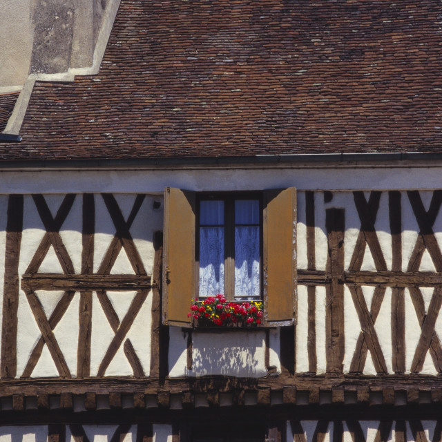 """Building Exterior in the Village of Chablis, Burgundy, France"" stock image"