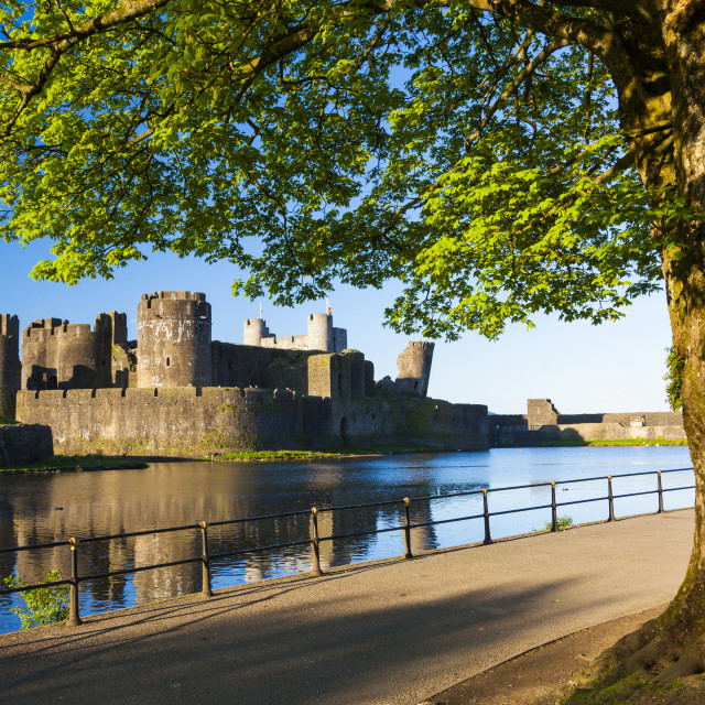 """Caerphilly Castle, Gwent, Wales, United Kingdom, Europe"" stock image"