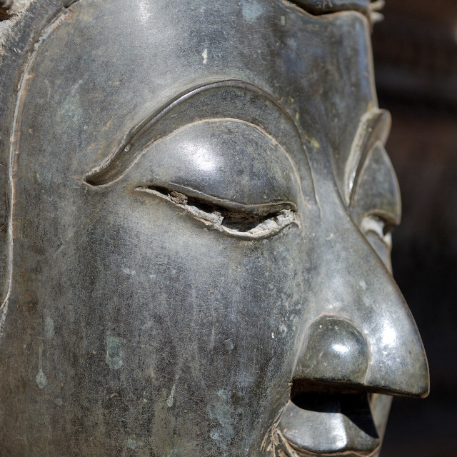 """Detail of statue of the Buddha, Wat Phra Keo, built by King Setthathirat,..."" stock image"