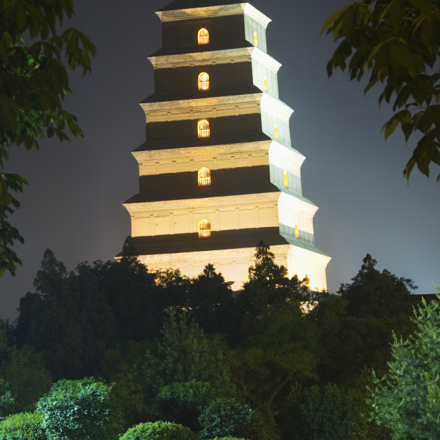 """Big Goose Pagoda Park, Tang Dynasty built in 652 by Emperor Gaozong, Xian..."" stock image"