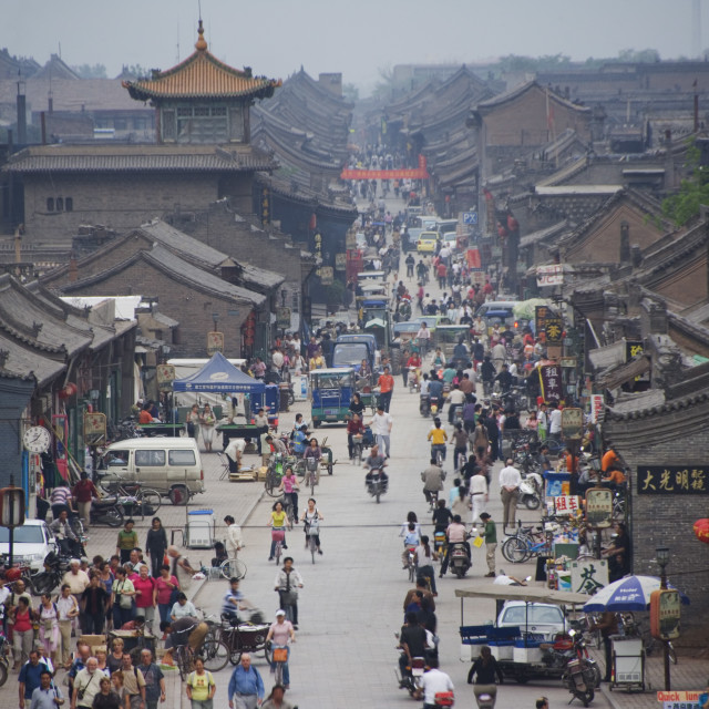 """People in the historic old town, Ping Yao, UNESCO World Heritage Site, Shanxi..."" stock image"
