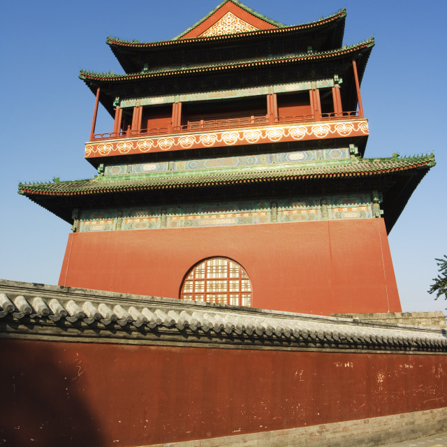 """The Drum Tower, a later Ming dynasty version originally built in 1273 marking..."" stock image"