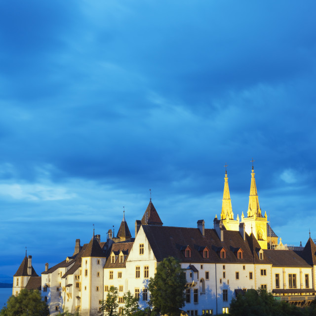 """The 15th century chateau and cathedral, Neuchatel, Switzerland, Europe"" stock image"