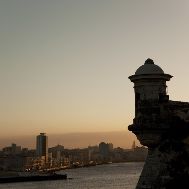 """El Morro fortress at sunset, Havana, Cuba, West Indies, Central America"" stock image"