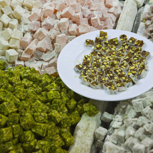 """""""Traditional Turkish Delight for sale, Spice Bazaar, Istanbul, Turkey, Western..."""" stock image"""