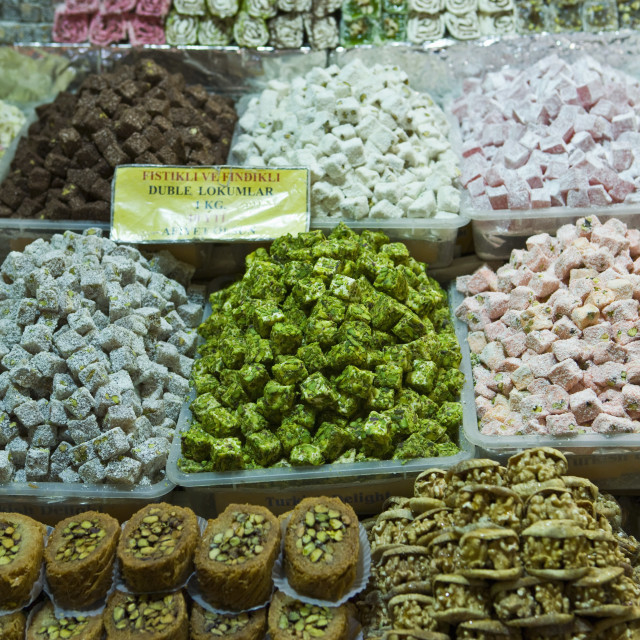 """""""Turkish delight and baklava for sale in Spice Bazaar, Istanbul, Turkey,..."""" stock image"""