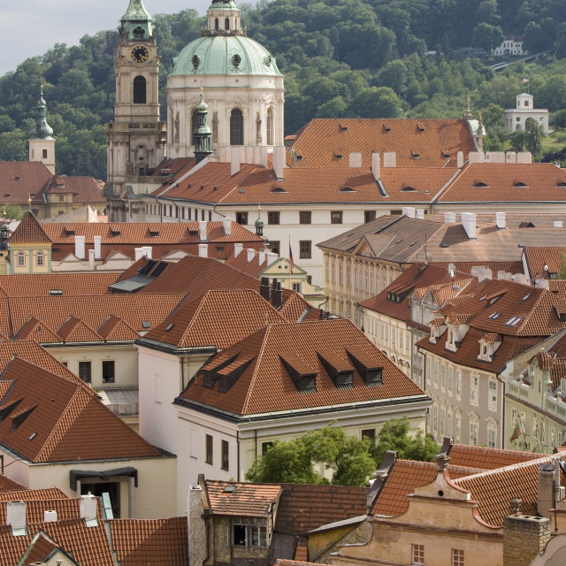 """View of rooftops, Church of St. Nicholas dome, Little Quarter, Prague, Czech..."" stock image"