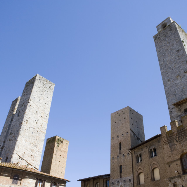 """""""Wide view of towers in San Gimignano, Tuscany, Italy"""" stock image"""