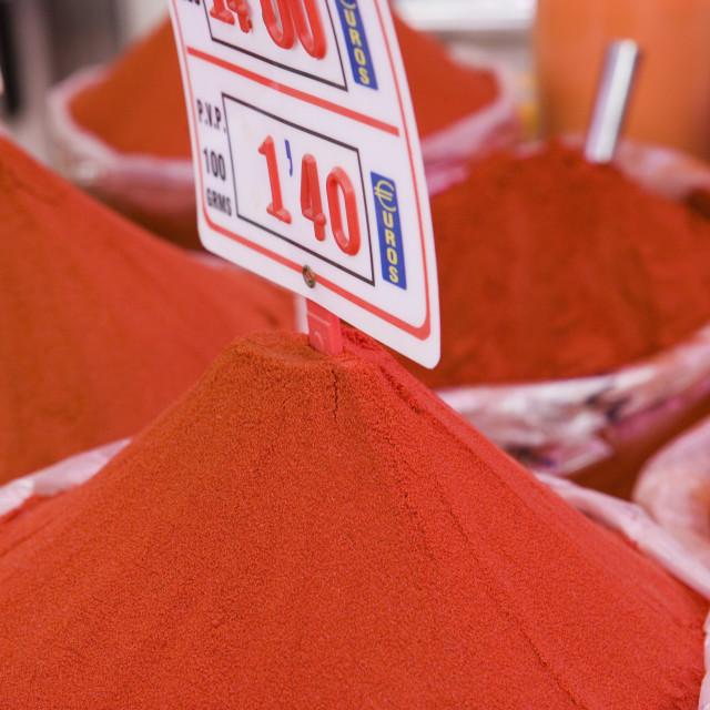 """Paprika for sale, Mercado Central (Central Market), Valencia, Mediterranean,..."" stock image"