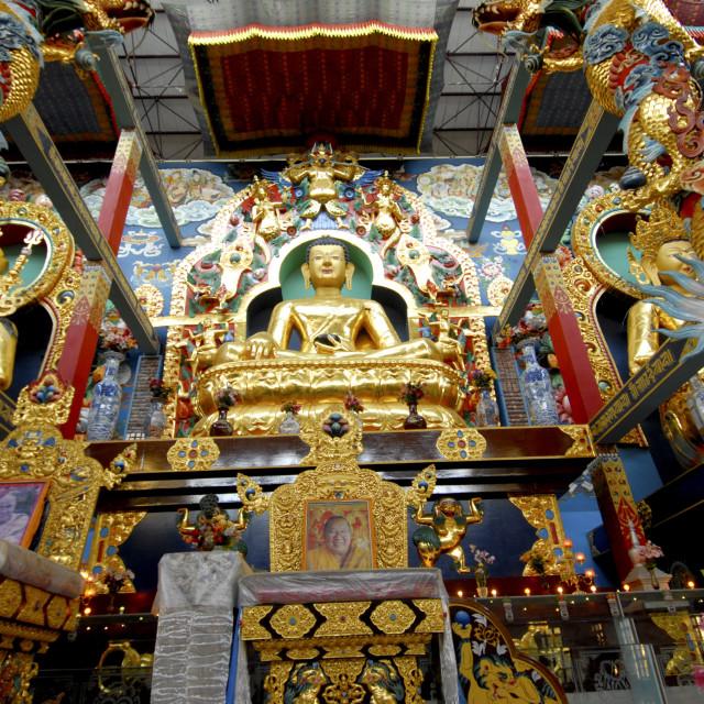 """Buddhist Golden Temple in Bylakuppe, Coorg, Karnataka, India, Asia"" stock image"