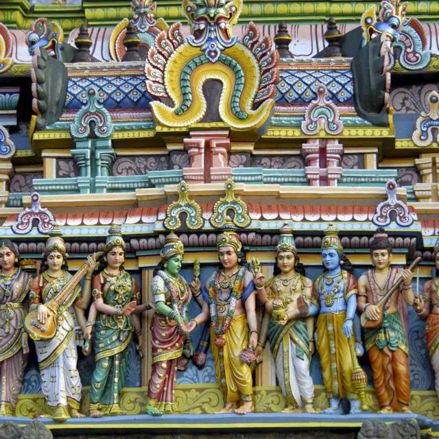 """""""Intricate carving work on the gopuram of a temple, Tamil Nadu, India, Asia"""" stock image"""