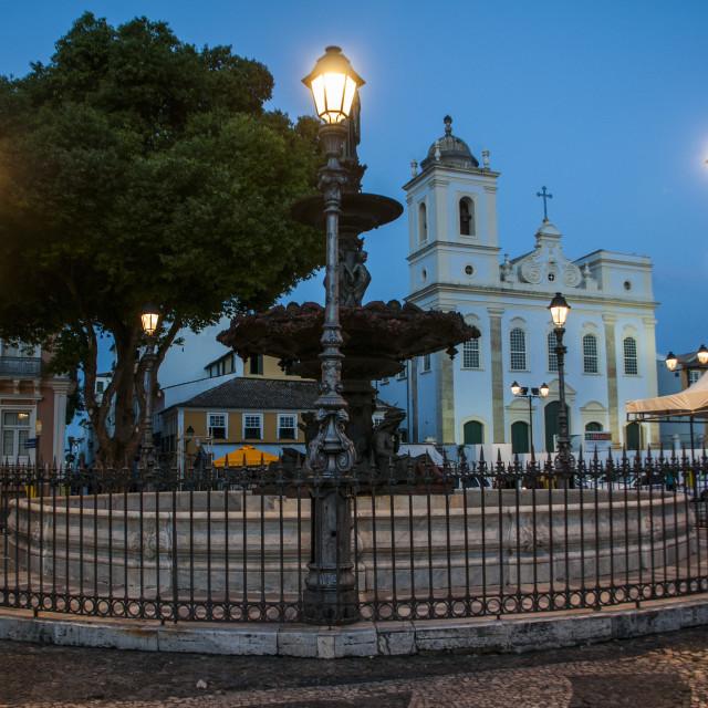 """Nightshoot of the 16 do novembro Square, Pelourinho, UNESCO World Heritage..."" stock image"