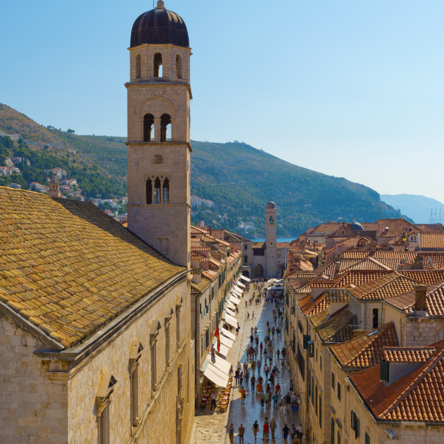 """Croatia, Dubrovnik, Stari Grad (Old Town), The Stradun (Placa Ulica) and..."" stock image"