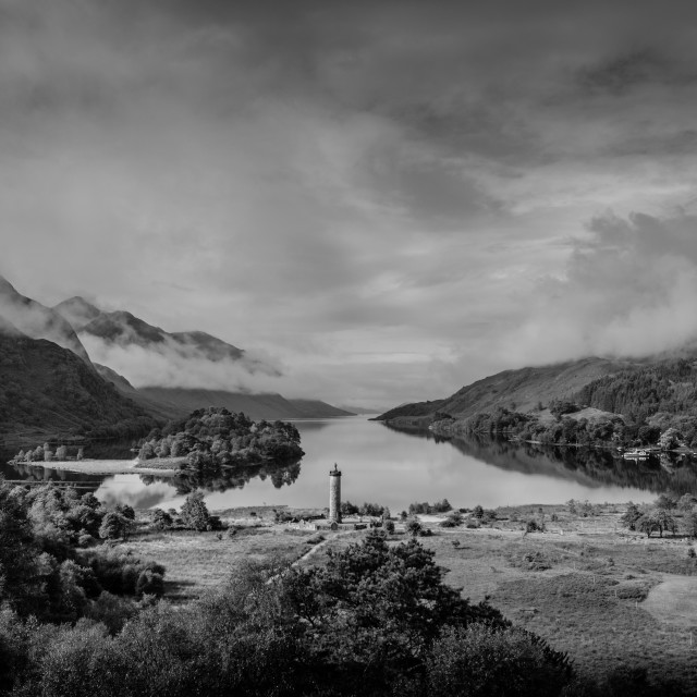 """Glenfinnan Memorial & Loch Shiel"" stock image"