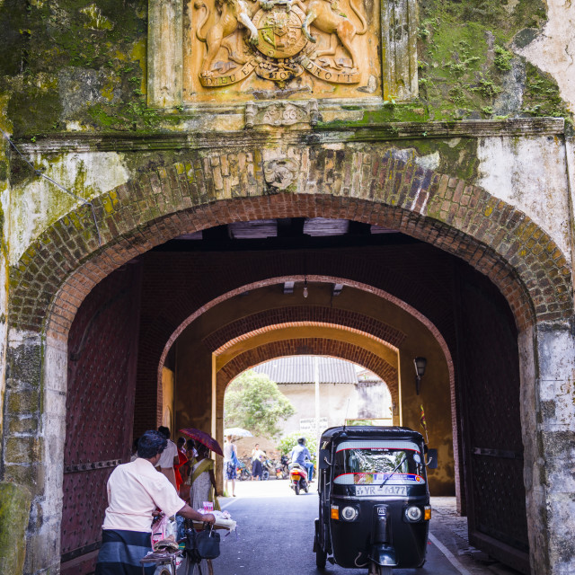 """""""Entrance gate to the Old Town of Galle, UNESCO World Heritage Site on the..."""" stock image"""