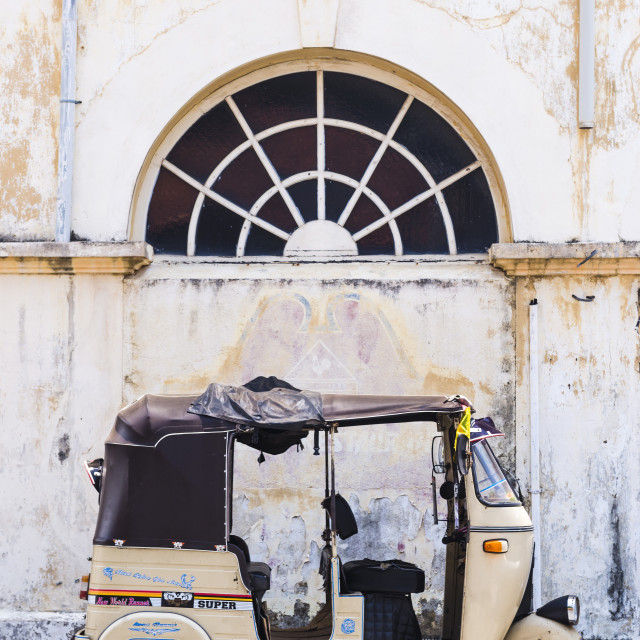 """""""Tuktuk in the Old Town of Galle, UNESCO World Heritage Site on the South..."""" stock image"""