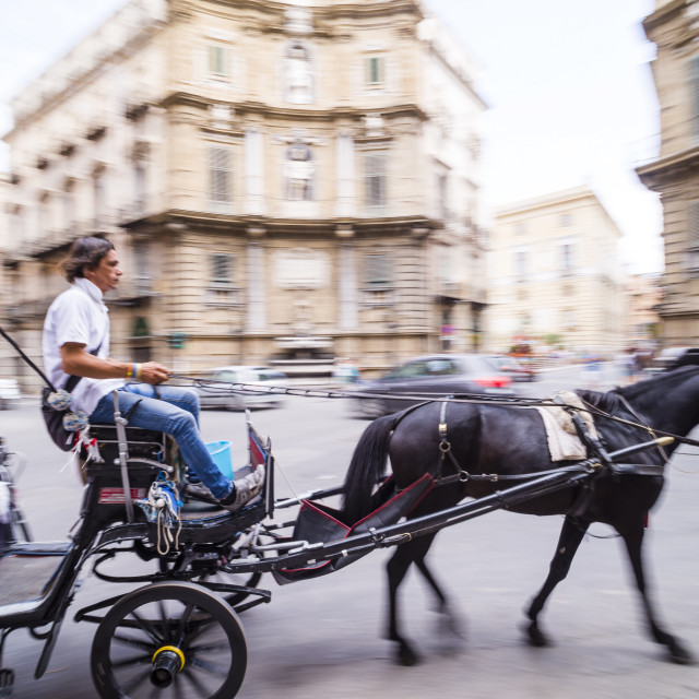 """""""Horse and cart at Quattro Canti (Piazza Vigliena) (The Four Corners), a..."""" stock image"""