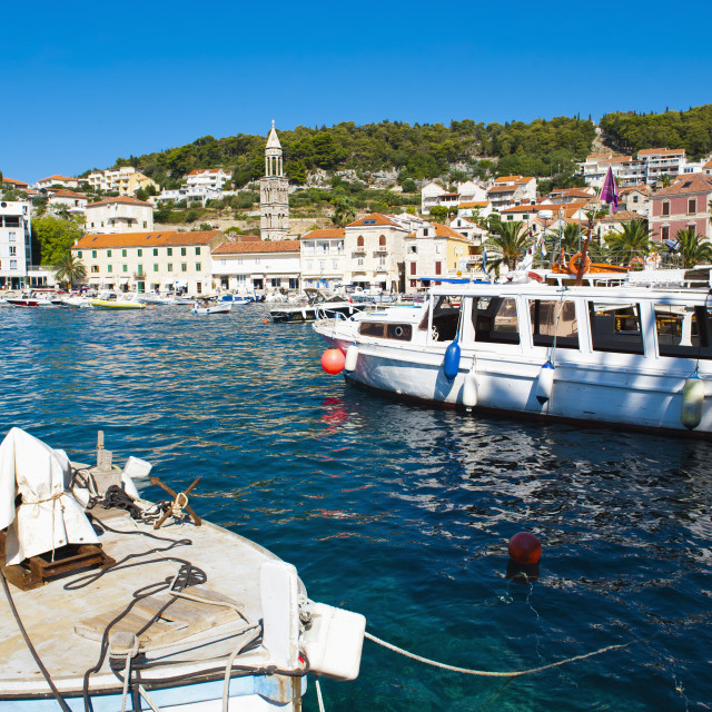 """Hvar harbor, Hvar Island, Dalmatian Coast, Adriatic, Croatia, Europe"" stock image"