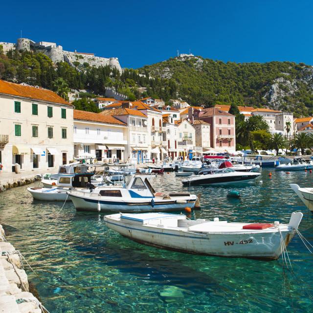 """Hvar harbor and Fortica (Spanish Fortress), Hvar Island, Dalmatian Coast,..."" stock image"