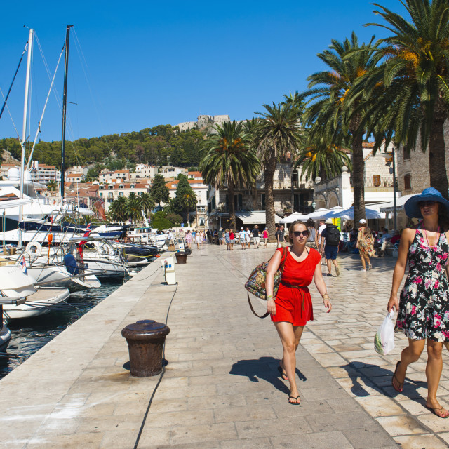 """Tourists on a luxury holiday at Hvar Town Harbor, Hvar Island, Dalmatian..."" stock image"