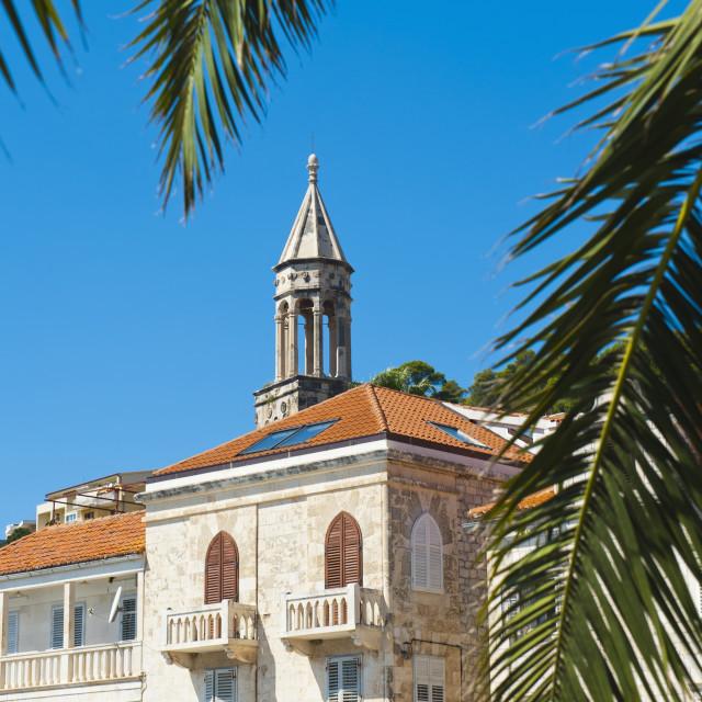 """Church bell tower in Hvar town centre, Hvar Island, Dalmatian Coast, Croatia,..."" stock image"