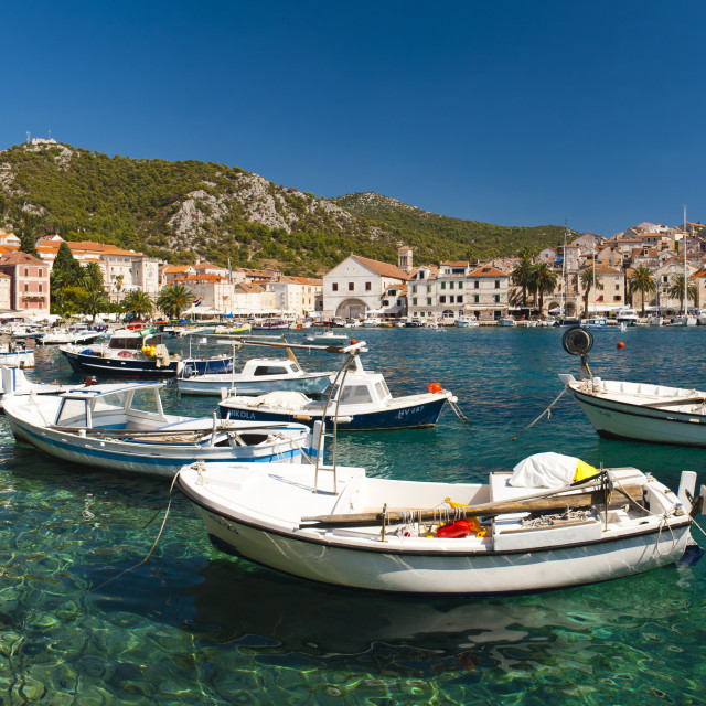 """Hvar harbour, the Spanish Fortress and Hvar town centre, Hvar Island,..."" stock image"
