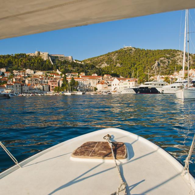 """Boat trip returning to Hvar Town, Hvar Island, Dalmatian Coast, Adriatic,..."" stock image"