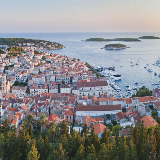 """Hvar Town at sunset taken from the Spanish Fort (Fortica), Hvar Island,..."" stock image"