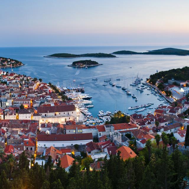 """Hvar Town and the Pakleni Islands (Paklinski Islands) at night, Hvar Island,..."" stock image"