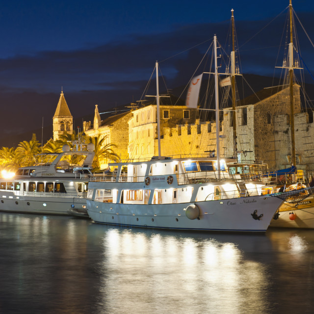 """Trogir town and boat docks at night, Trogir, Dalmatian Coast, Adriatic,..."" stock image"
