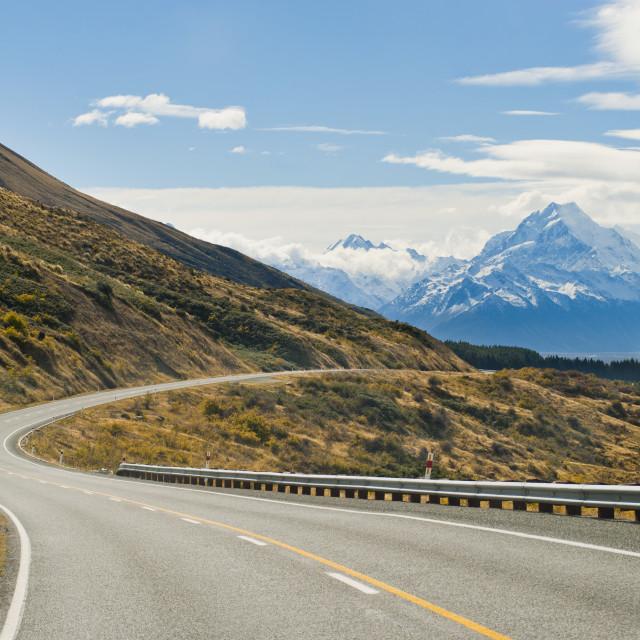 """Road to Aoraki Mount Cook in Aoraki Mount Cook National Park, UNESCO World..."" stock image"