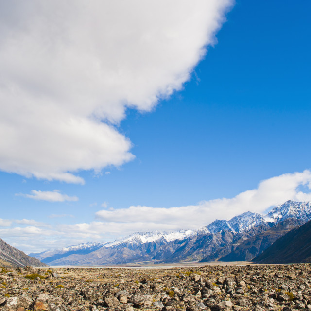 """Rugged mountain scenery and snow capped mountain, Aoraki Mount Cook National..."" stock image"