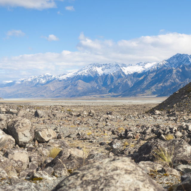 """Rugged mountain scenery and snow capped mountains, Aoraki Mount Cook National..."" stock image"