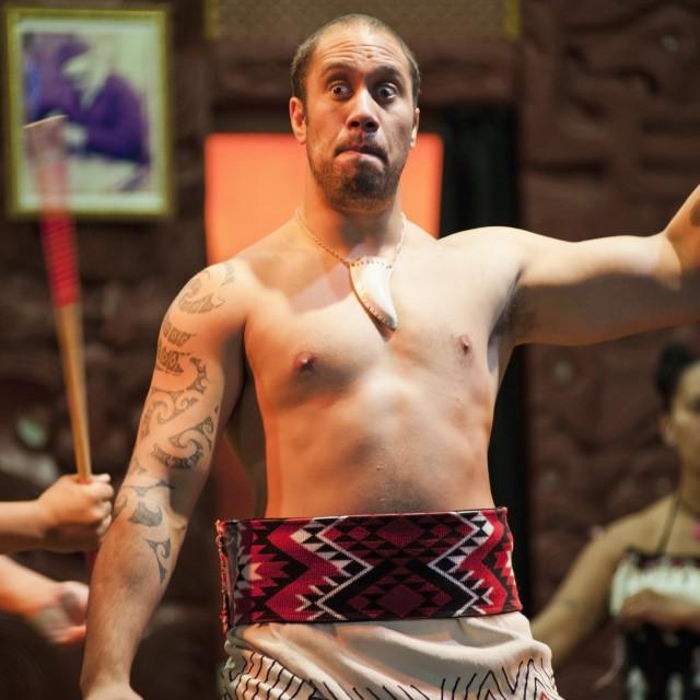 """Maori man performing the Haka at Te Puia Moari Village, Rotorua, North..."" stock image"