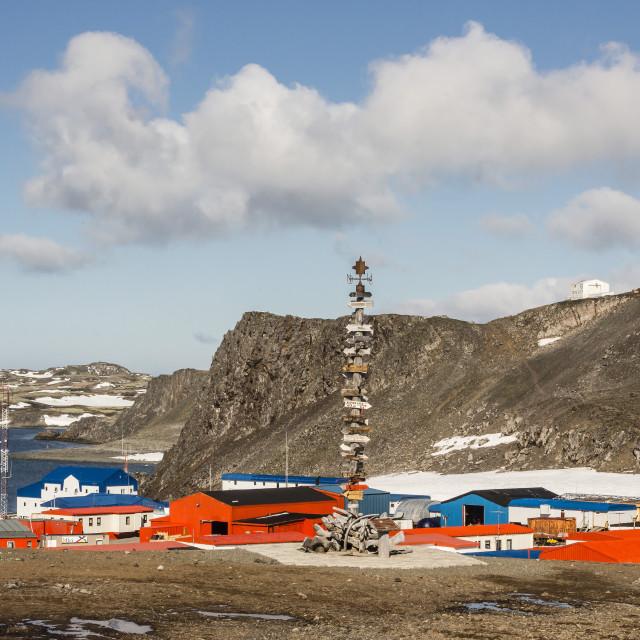 """""""Chilean Base Presidente Eduardo Frei Montalva, Collins Harbour, King George..."""" stock image"""