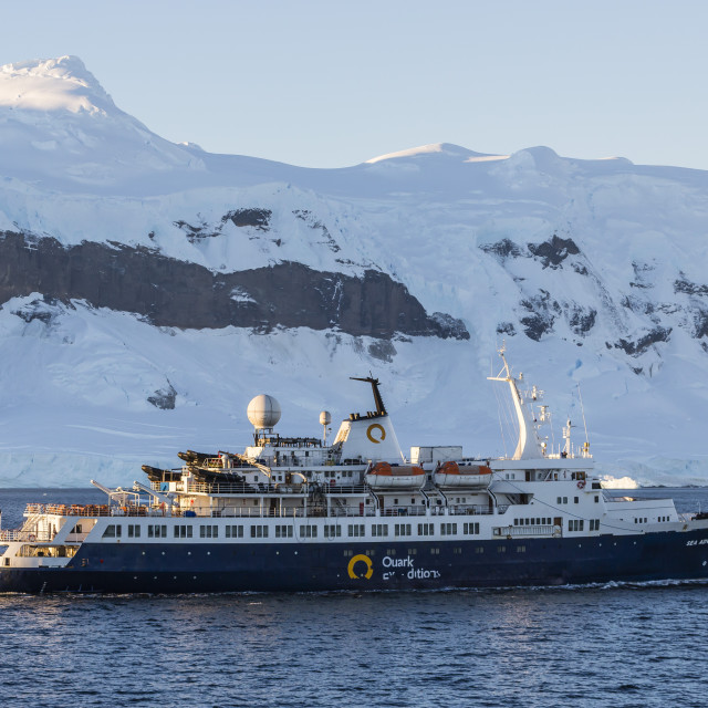 """The Quark Expeditions ship Sea Adventurer operating in the Gerlache Strait,..."" stock image"
