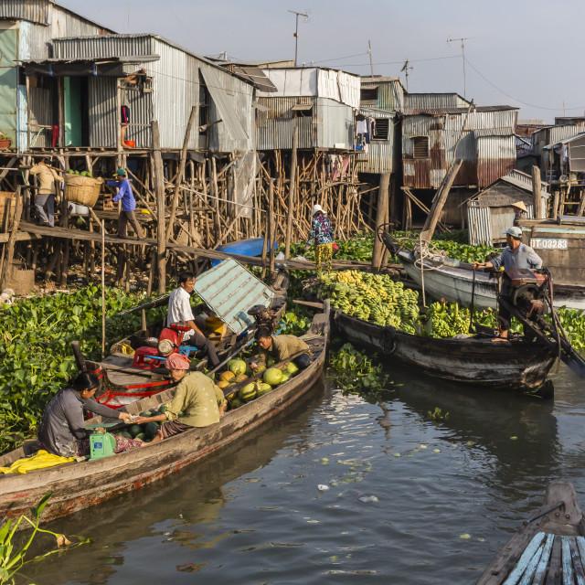 """Fresh produce coming to market at Chau Doc, Mekong River Delta, Vietnam,..."" stock image"