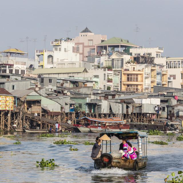 """Daily Vietnamese river life at Chau Doc, Mekong River Delta, Vietnam,..."" stock image"