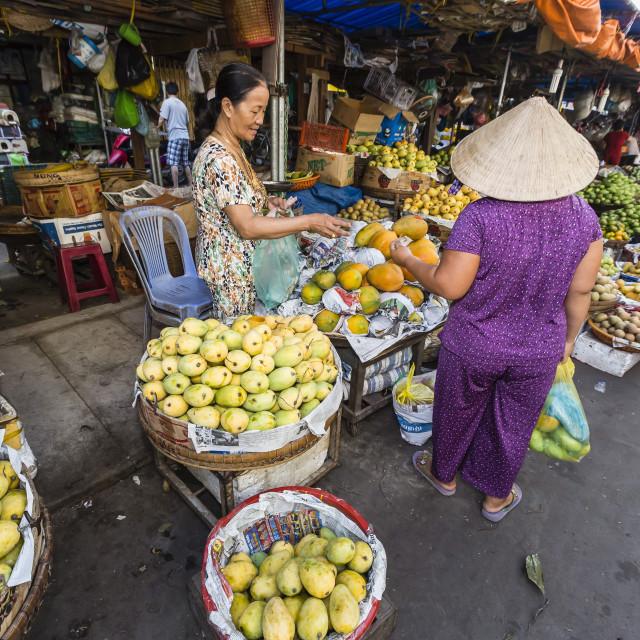 """Fresh produce for sale at market at Chau Doc, Mekong River Delta, Vietnam,..."" stock image"