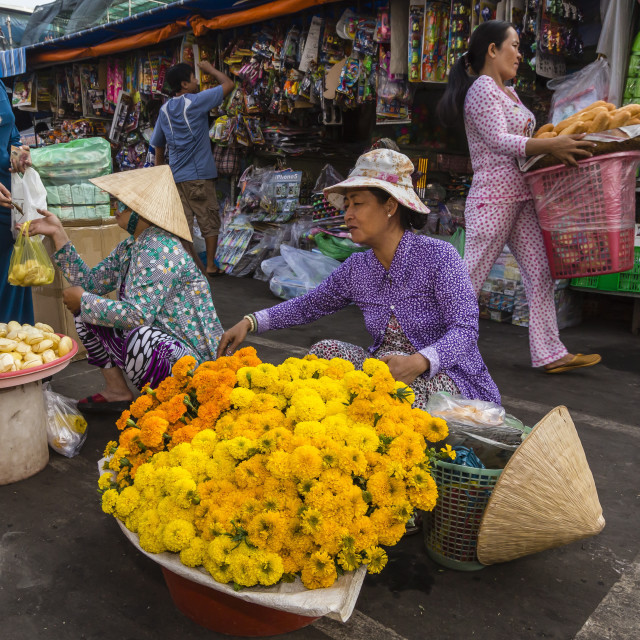 """""""Fresh flowers for sale at market at Chau Doc, Mekong River Delta, Vietnam,..."""" stock image"""
