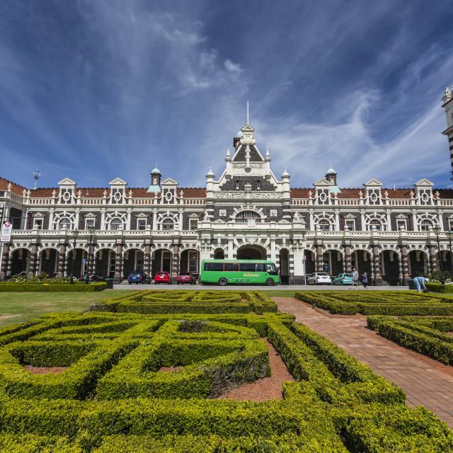 """Dunedin Railway Station in Dunedin, Otago, South Island, New Zealand, Pacific"" stock image"