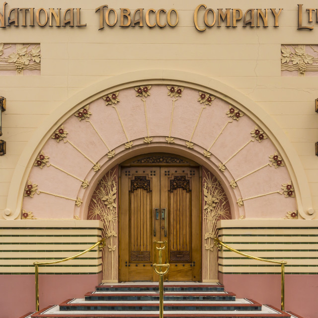 """""""The 1930's Art Deco style National Tobacco Company building in Napier, North..."""" stock image"""