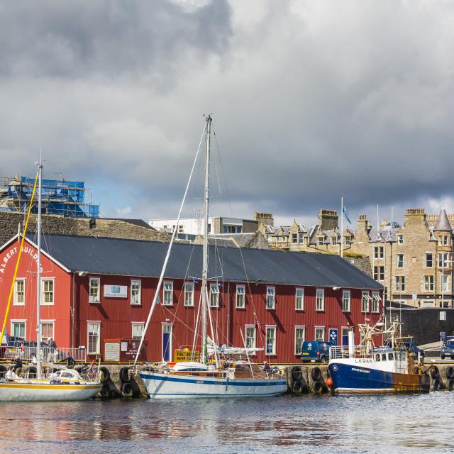 """Views of the port city of Lerwick, Shetland Islands, Scotland, United..."" stock image"