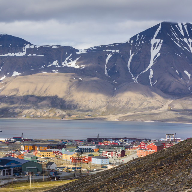 """Longyearbyen, Spitsbergen Island, Svalbard Archipelago, Norway, Scandinavia,..."" stock image"