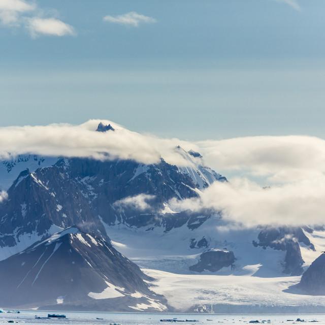 """""""Tidewater glacier, Hornsund, Spitsbergen, Svalbard Archipelago, Norway,..."""" stock image"""