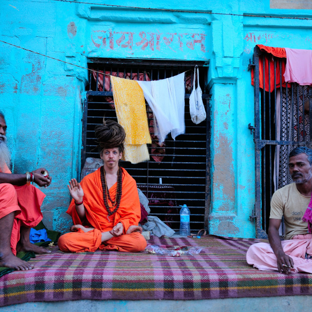 """Sadhus on the ghats, Varanasi, Uttar Pradesh, India, Asia"" stock image"